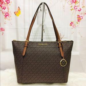 Michael Kors Ciara Large Zip Tote Bag Brown